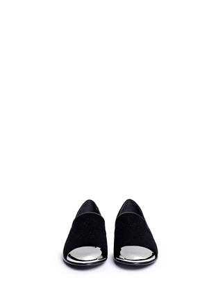 模特示范图 - 点击放大 - GIUSEPPE ZANOTTI DESIGN - 金属鞋头绒面平底便鞋