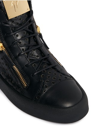 Detail View - Click To Enlarge - Giuseppe Zanotti Design - 'May London' perforated mid top sneakers