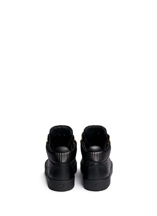 Back View - Click To Enlarge - Giuseppe Zanotti Design - 'May London' perforated mid top sneakers