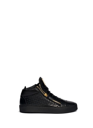 Main View - Click To Enlarge - Giuseppe Zanotti Design - 'May London' perforated mid top sneakers
