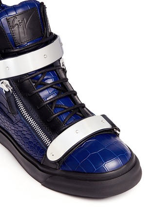 Detail View - Click To Enlarge - Giuseppe Zanotti Design - 'May London' croc-embossed leather high-top sneakers