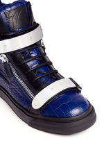 'May London' croc-embossed leather high-top sneakers