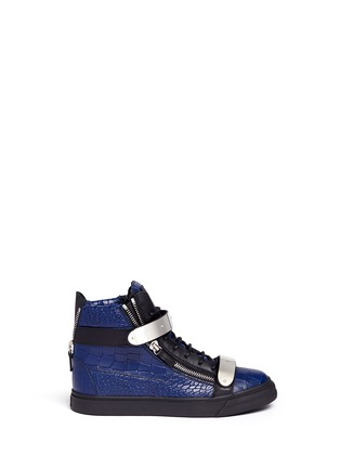 Main View - Click To Enlarge - Giuseppe Zanotti Design - 'May London' croc-embossed leather high-top sneakers