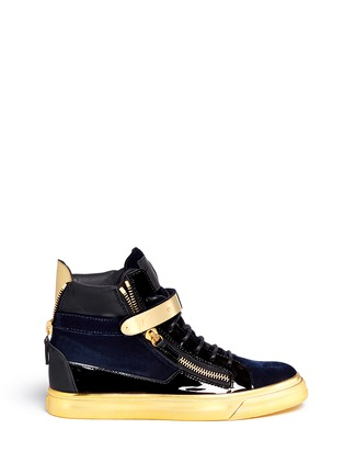 Main View - Click To Enlarge - Giuseppe Zanotti Design - 'Coby London' leather velvet combo high top sneakers