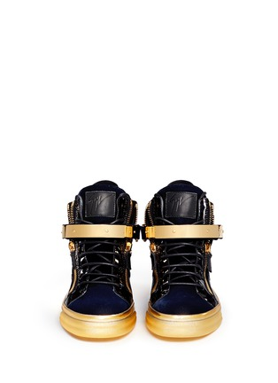 Figure View - Click To Enlarge - Giuseppe Zanotti Design - 'Coby London' leather velvet combo high top sneakers