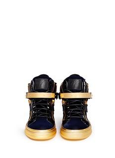 GIUSEPPE ZANOTTI DESIGN'Coby London' leather velvet combo high top sneakers