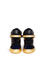 'Coby London' leather velvet combo high top sneakers