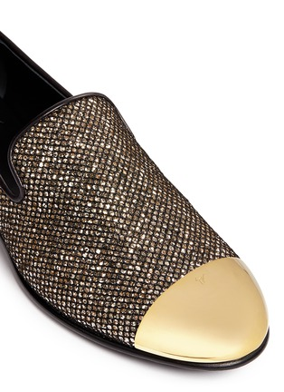 Detail View - Click To Enlarge - Giuseppe Zanotti Design - 'Kevin' metal cap glitter mesh slip-ons
