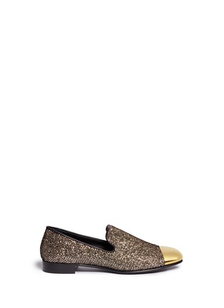 Main View - Click To Enlarge - Giuseppe Zanotti Design - 'Kevin' metal cap glitter mesh slip-ons