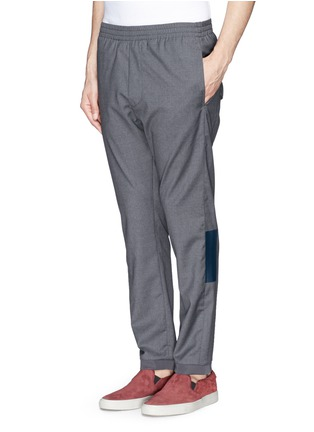 Front View - Click To Enlarge - MAURO GRIFONI - Elastic waist fleece wool pants