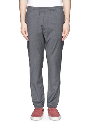 MAURO GRIFONI-Elastic waist fleece wool pants