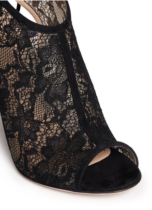 Detail View - Click To Enlarge - Gianvito Rossi - Lace peep toe booties
