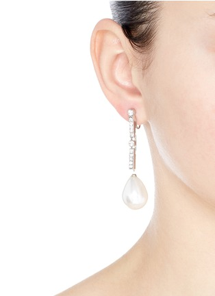 Figure View - Click To Enlarge - Kenneth Jay Lane - Glass crystal pavé pear pearl drop clip earrings