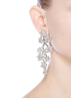 Kenneth Jay LaneGlass crystal leaf drop clip earrings