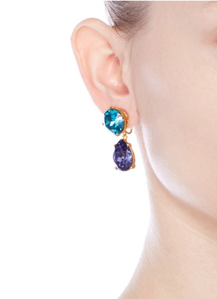 Figure View - Click To Enlarge - Kenneth Jay Lane - Glass crystal pear drop clip earrings