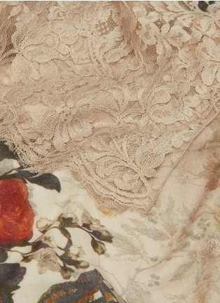 Detail View - Click To Enlarge - Janavi - Floral print lace trim wool-silk scarf