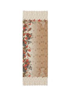 JanaviFloral print lace trim wool-silk scarf