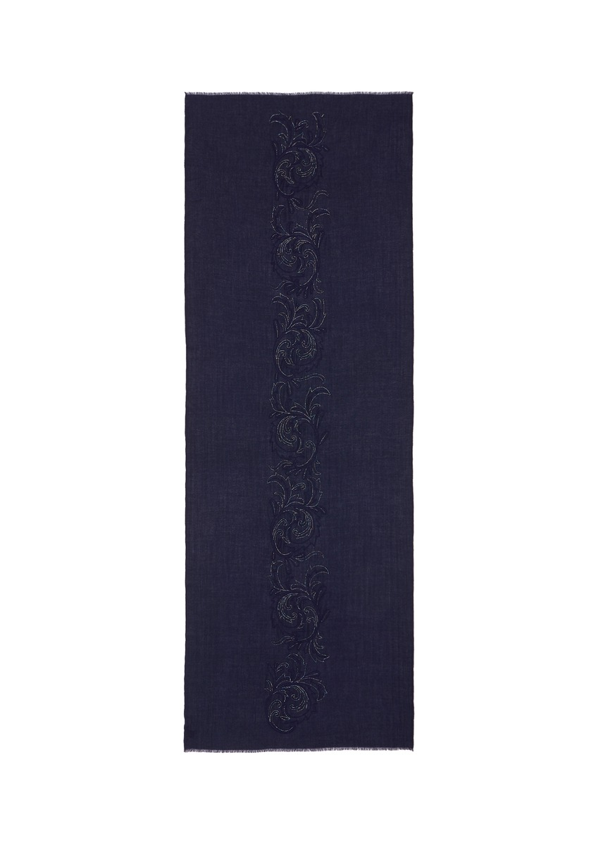 Leaf scroll embellished cashmere scarf by Janavi