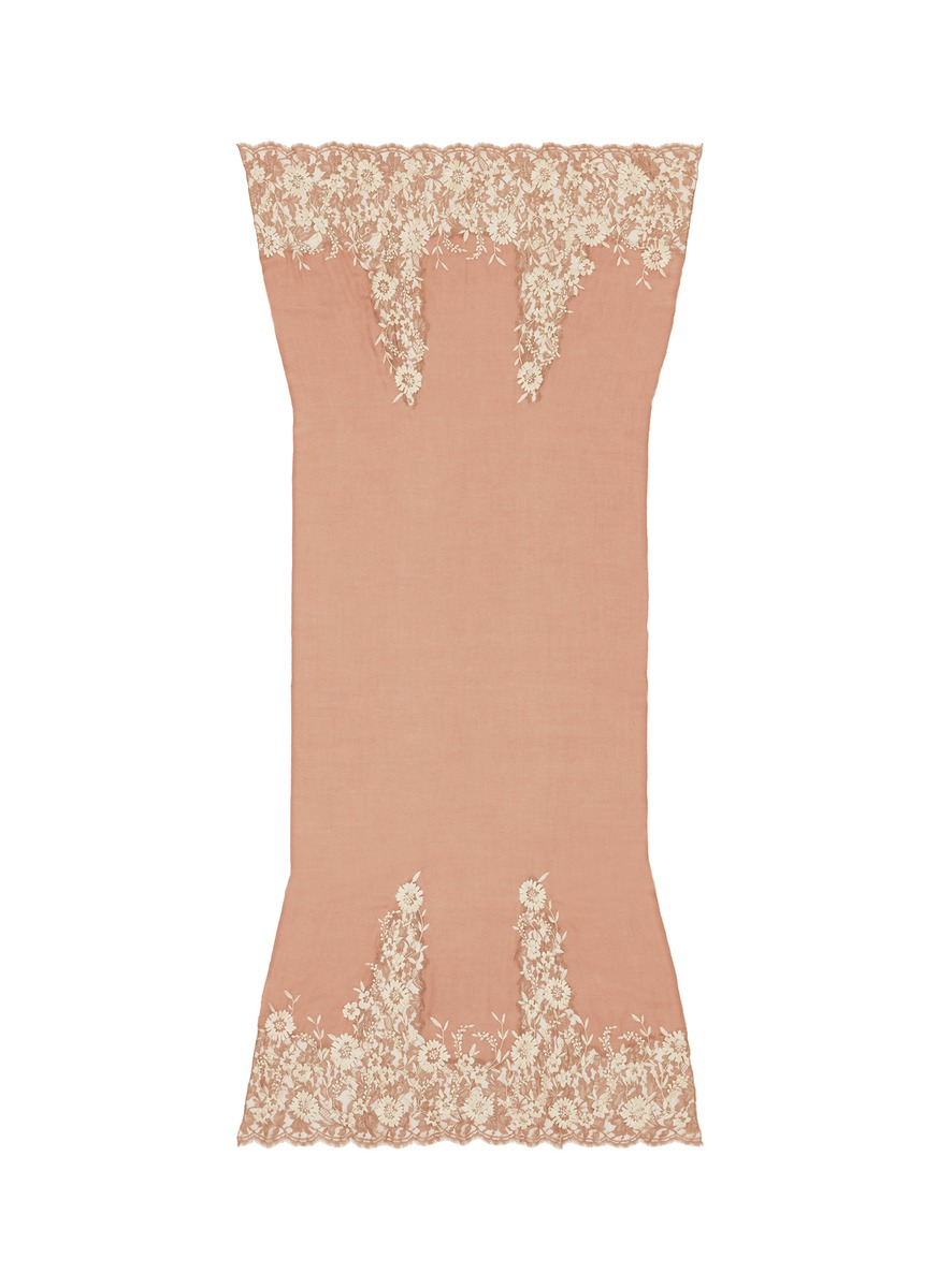Floral embroidered lace end cashmere scarf by Janavi