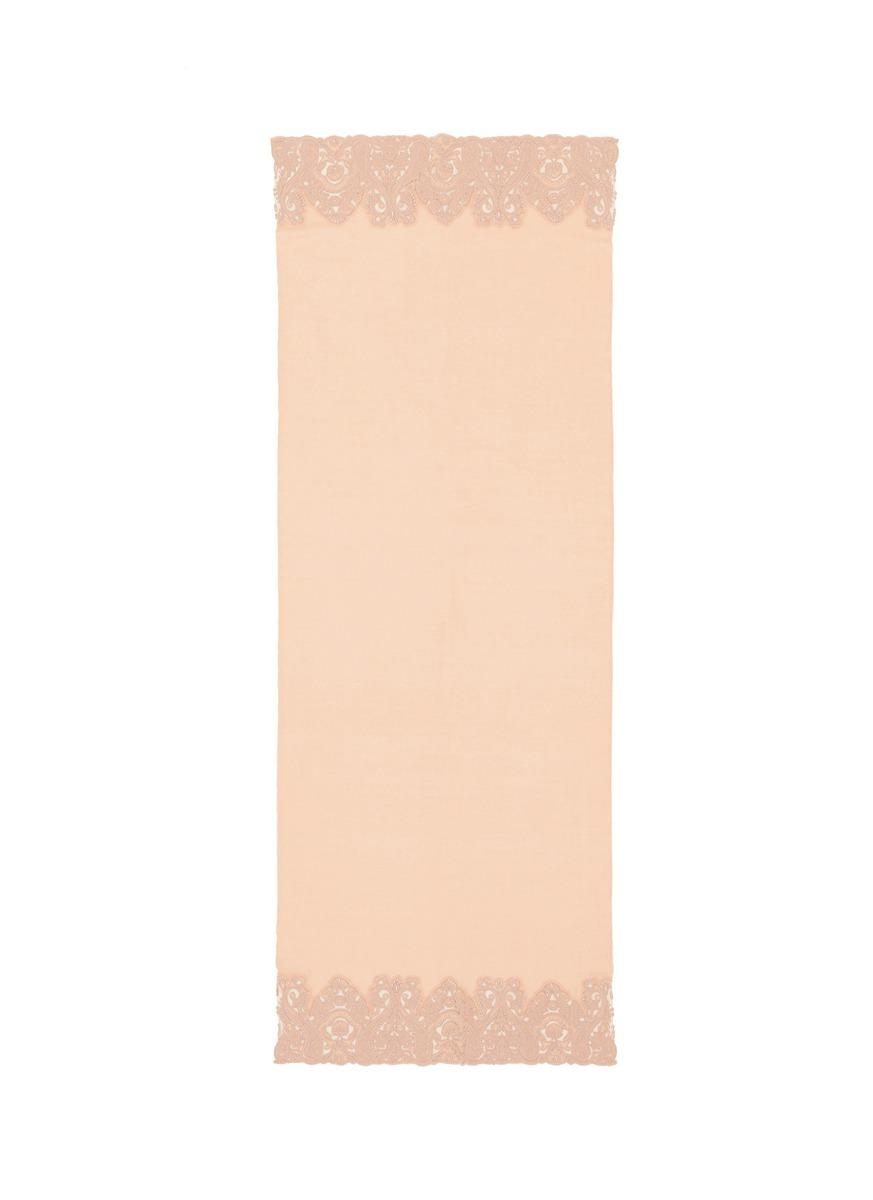 Paisley lace trim cashmere scarf by Janavi