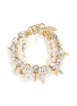 Main View - Click To Enlarge - Joomi Lim - Arrowhead spike crystal faux pearl bracelet