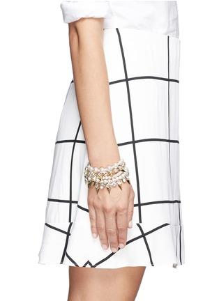 Figure View - Click To Enlarge - Joomi Lim - Arrowhead spike crystal faux pearl bracelet