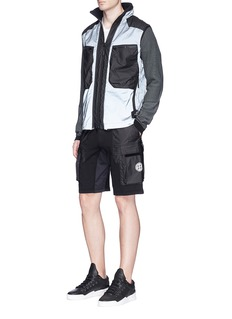 Stone Island'Mussola Gommata' 2-in-1 reflective vest and zip hoodie set
