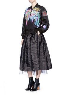 Marc Jacobs Embellished graffiti print shrunken bomber jacket