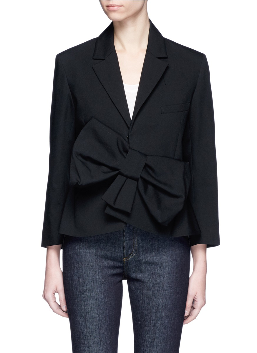 Oversized bow tropical wool peplum blazer by VICTORIA, VICTORIA BECKHAM