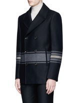 Stripe embellished double breasted peacoat