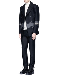 Ports 1961 Stripe embellished double breasted peacoat