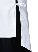 Side tie stretch cotton poplin shirt