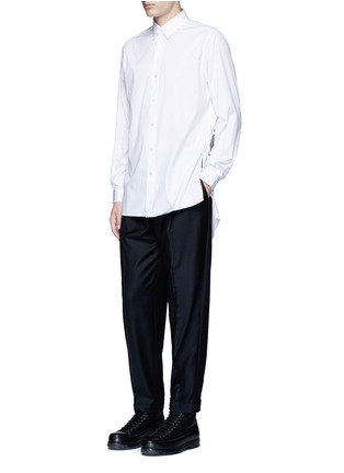 Figure View - Click To Enlarge - Ports 1961 - Side tie stretch cotton poplin shirt