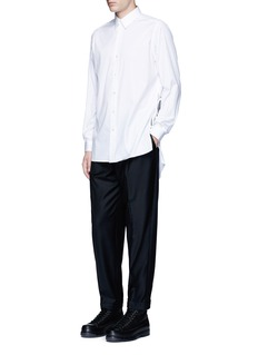 Ports 1961 Side tie stretch cotton poplin shirt