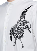 Bird embroidered cotton shirt