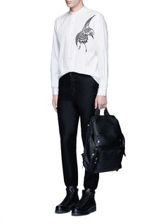 Ports 1961 Bird embroidered cotton shirt