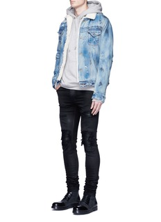 Amiri'MX1' plonge leather patchwork waxed jeans