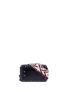 Valentino'Guitar Rockstud Rolling Noir' small cracked effect leather bag