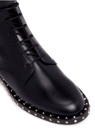 Detail View - Click To Enlarge - Valentino - 'Rockstud' trim leather combat boots