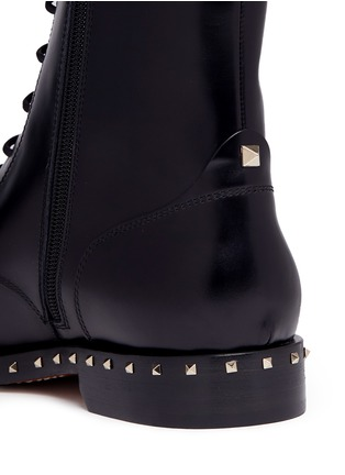 - Valentino - 'Rockstud' trim leather combat boots