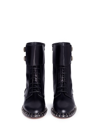 Front View - Click To Enlarge - Valentino - 'Rockstud' trim leather combat boots