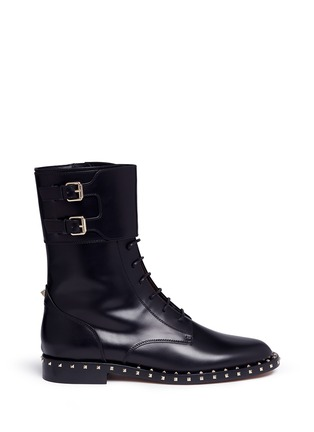 Main View - Click To Enlarge - Valentino - 'Rockstud' trim leather combat boots