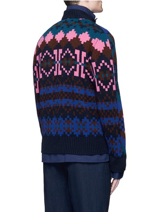 Back View - Click To Enlarge - Sacai - Pixel stripe cardigan overlay twill jacket