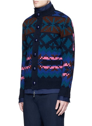 Front View - Click To Enlarge - Sacai - Pixel stripe cardigan overlay twill jacket