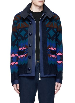 Main View - Click To Enlarge - Sacai - Pixel stripe cardigan overlay twill jacket