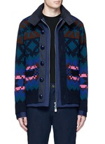 Pixel stripe cardigan overlay twill jacket