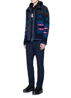 SacaiPixel stripe cardigan overlay twill jacket