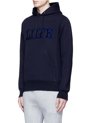 Front View - Click To Enlarge - Sacai - 'LIIFE' embroidery cotton blend neoprene hoodie