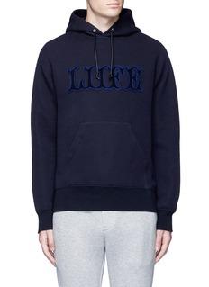Sacai'LIIFE' embroidery cotton blend neoprene hoodie