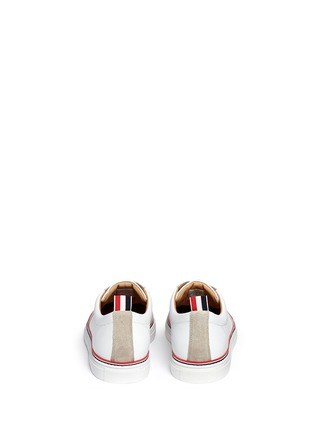 Back View - Click To Enlarge - Thom Browne - Suede toe cap leather sneakers
